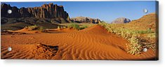 Jebel Qatar From The Valley Floor, Wadi Acrylic Print by Panoramic Images