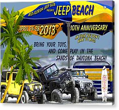 Acrylic Print featuring the photograph Jeep Beach 2013 Welcomes All Jeepers by DigiArt Diaries by Vicky B Fuller