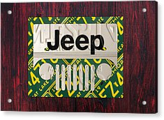 Jeep Vintage Logo Recycled License Plate Art Acrylic Print by Design Turnpike
