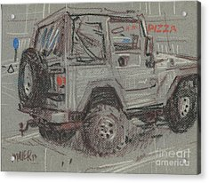Acrylic Print featuring the painting Jeep With Pizza by Donald Maier