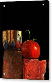 Jefferson Cup With Tomato And Sedona Bricks Acrylic Print by Catherine Twomey