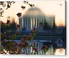 Jefferson Memorial Reflection With Cherry Blossoms Acrylic Print