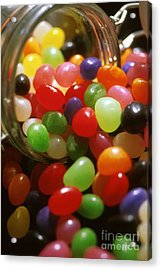 Jelly Beans Spilling Out Of Glass Jar Acrylic Print by Anonymous