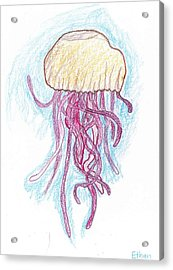 Jelly Fish Floating Acrylic Print by Ethan Chaupiz
