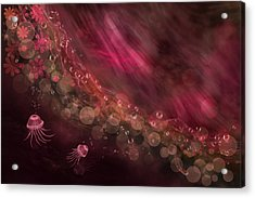 Jellyfish And Abstract In Fuchsia Acrylic Print