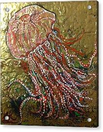 Jellyfish Pink And Gold  Acrylic Print by Michaela Kraemer
