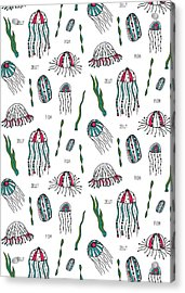 Jellyfish Repeat Print Acrylic Print by Susan Claire