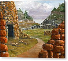 Acrylic Print featuring the painting Jemez Inspired Pathway Landscape by Lenora  De Lude