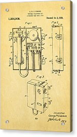Jenkins Portable Telephone Patent Art 1920 Acrylic Print by Ian Monk