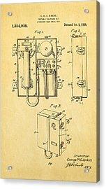 Jenkins Portable Telephone Patent Art 1920 Acrylic Print
