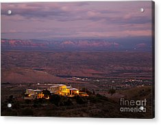 Jerome State Park With Red Rocks Of Sedona Arizona In Magic Light Acrylic Print