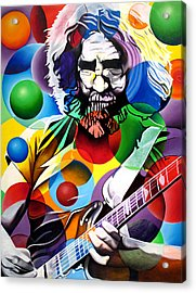 Jerry Garcia In Bubbles Acrylic Print
