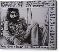 Jerry Garcia....taken From Rollingstone Interview 1972 Acrylic Print