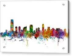 Jersey City New Jersey Skyline Acrylic Print by Michael Tompsett