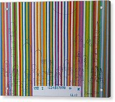 Jerusalem Barcode Acrylic Print by Hanna Fluk