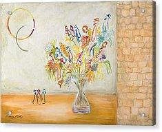 Jerusalem Flowers Acrylic Print by Hanna Fluk