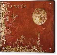 Jerusalem In Red Acrylic Print by Hanna Fluk