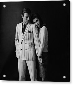 Jessica Walter Posing With A Male Model Acrylic Print by Leonard Nones