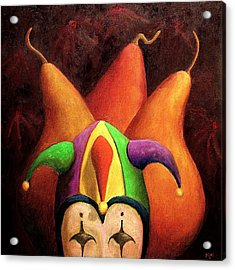 Jester And Three Pears Acrylic Print by Marie-louise McHugh