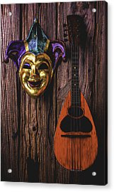Jester Mask And Mandolin Acrylic Print