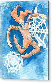 Jester With Snowflakes Acrylic Print by Genevieve Esson
