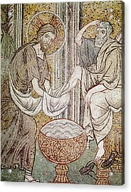 Jesus And Saint Peter, Detail From Jesus Washing The Feet Of The Apostle Mosaic Acrylic Print by Byzantine School