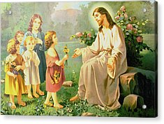 Jesus And The Little Children Acrylic Print by Unknown