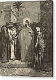 Jesus And The Tribute Money Acrylic Print by Antique Engravings