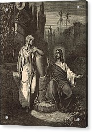 Jesus And The Woman Of Samaria Acrylic Print by Antique Engravings