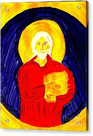 Jesus Christ And Book Of Mormon Gold Plates Acrylic Print by Richard W Linford
