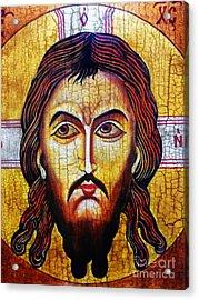 Jesus Christ Mandylion Acrylic Print by Ryszard Sleczka