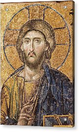 Jesus Christ Mozaic Hagia Sofia Mosque. Acrylic Print by David Parker