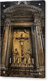 Jesus-christ On Cross Inside Siena's Duomo Acrylic Print by Sami Sarkis