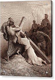 Jesus Falling Beneath The Cross Acrylic Print