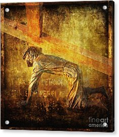 Jesus Falls Again Via Dolorosa 7 Acrylic Print
