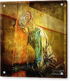 Jesus Falls Via Dolorosa 3 Acrylic Print by Lianne Schneider