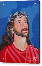 Jesus Hand Embroidery Acrylic Print by To-Tam Gerwe