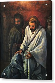 Jesus Healing Beggar Acrylic Print by Donna Tucker