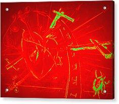 Jesus Heart Series - Flaming Heart Acrylic Print