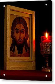 Jesus Icon Not Made With Hands Acrylic Print by Richard Singleton