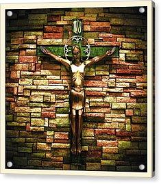 Jesus Is His Name Cream Border Acrylic Print