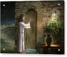 Jesus Knocking At The Door Acrylic Print by Cecilia Brendel