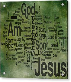 Jesus Name 1 Acrylic Print by Angelina Vick