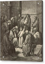 Jesus Questioning The Doctors Acrylic Print by Antique Engravings