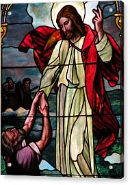 Jesus Rescues Peter From The Sea Acrylic Print by Kim Bemis