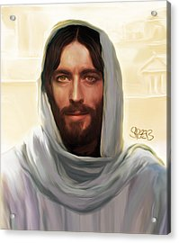 Jesus Smiling Acrylic Print by Mark Spears