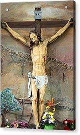 Jesus Statue At Latin Church In Taybeh Acrylic Print by Munir Alawi