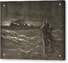 Jesus Walking On The Water Acrylic Print by Antique Engravings
