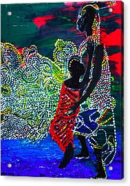 Acrylic Print featuring the painting Jesus Walking On Water by Gloria Ssali