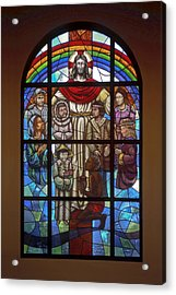 Jesus With Children Window Acrylic Print by Sally Weigand
